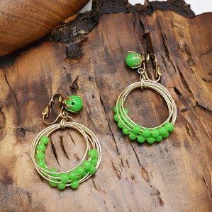 Vintage doorknocker hoop lime green acrylic rings